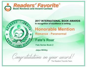 Fate's Roar award certificate